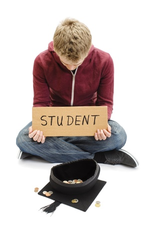 begging: Student Begging with Mortar Board Graduation Cap