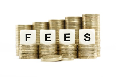 fees: FEES on gold coins on a white background Stock Photo