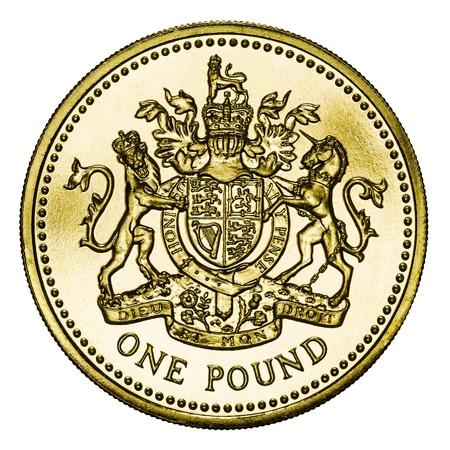 pounds money: Moneda de una libra GBP aislado en blanco con trazado de recorte