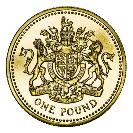 One Pound Coin GBP Isolated on White With Clipping Path photo