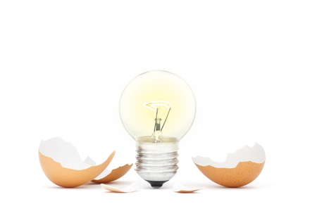 new ideas: Innovation Bright Ideas Light Bulb Hatching From Egg Shell