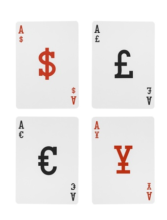swaps: Foreign Exchange Playing Cards Aces  Dollar Euro Pound Yen Symbols