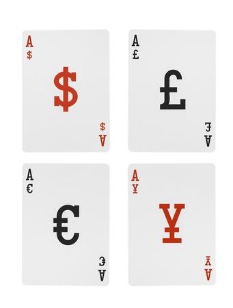 swaps: Foreign Exchange Playing Cards Aces  Dollar Euro Pound Yen Symbols