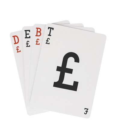 Word DEBT on Playing Cards with Pound Sterling Symbol Stock Photo - 20885048