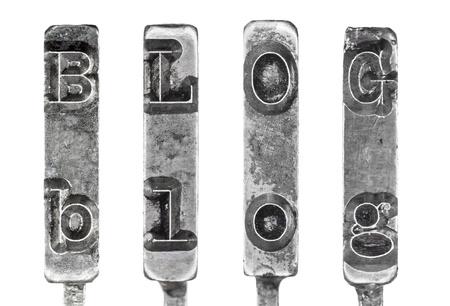 the typewriter: BLOG Word Varillas de conexi�n de la m�quina de escribir vintage aislados sobre fondo blanco Foto de archivo
