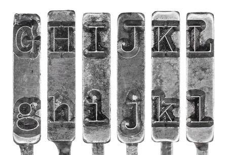 old typewriter: Old Typewriter Typebar Letters G to L Isolated on White