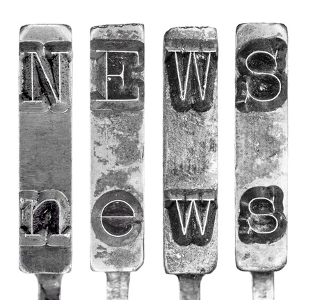 typebar: Word NEWS in Old Typewriter Typebar Letters Isolated on White Stock Photo
