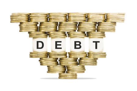 Debt Management Word DEBT on Unstable Stack of Gold Coins Stock Photo - 24202069