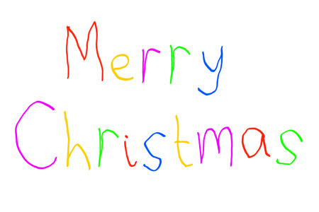 wording: Merry Christmas Greeting in Brightly Colored Childs Handwriting