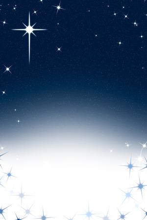 christmas cross: Christmas Night Sky Background with Stars Blue White Gradient