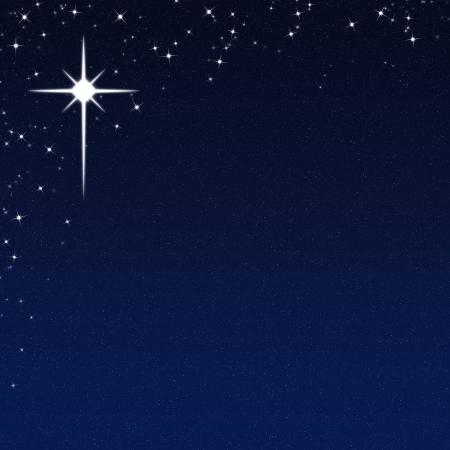 Étoile de Noël sur un fond de nuit étoilée Sky