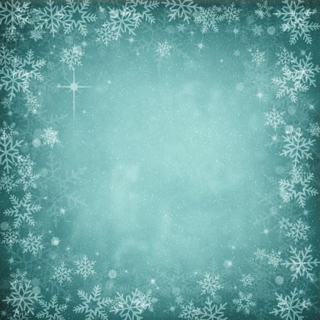 vellum: Blue Abstract Christmas Winter Background with Snowflakes and Stars