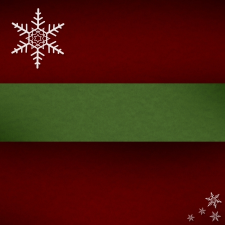 Red Green Christmas Winter Background with Snowflakes and Copy Space