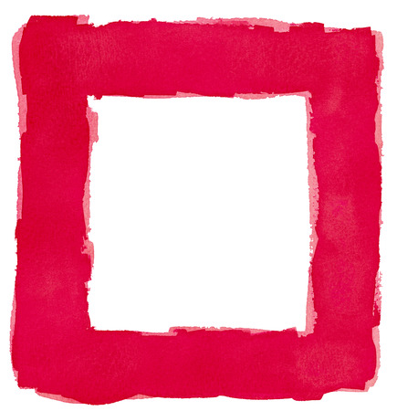 painted lines: Red Watercolor Square Frame Border White Copy Space Stock Photo