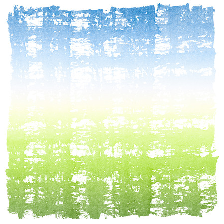 Abstract Watercolor Sky and Grass Square Crosshatched Frame photo
