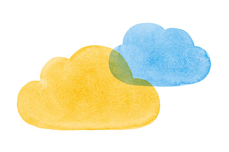 community cloud: Watercolor Painted Social Networking Clouds Blue Yellow Orange