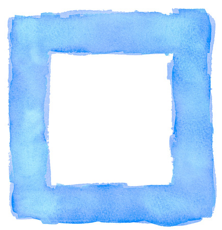 Blue Watercolor Square Frame Border photo