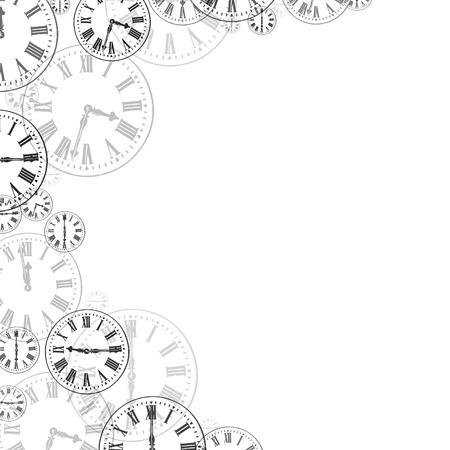 numeros romanos: Relojes de tiempo Negro Blanco Fondo de la frontera
