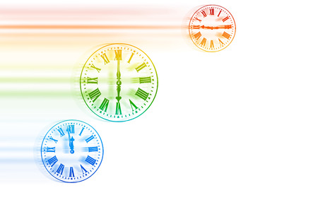 fulfillment: Time Flies - Rainbow Speeding Clocks Stock Photo