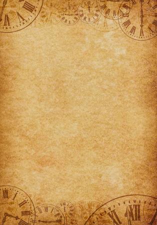 Antecedentes Grunge Pergamino vendimia con las caras del reloj Retrato
