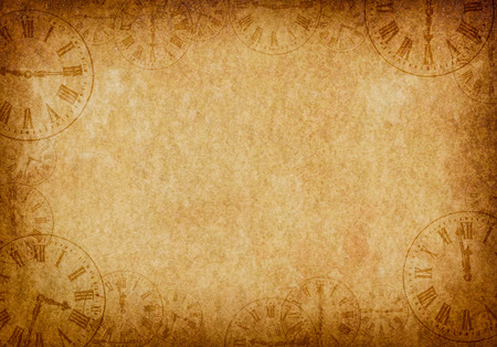 Vintage Grunge Parchment Background with Clock Faces Landscape Stock Photo