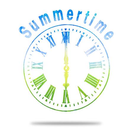 numeros romanos: Reloj verano con antecedentes de colores de Verano