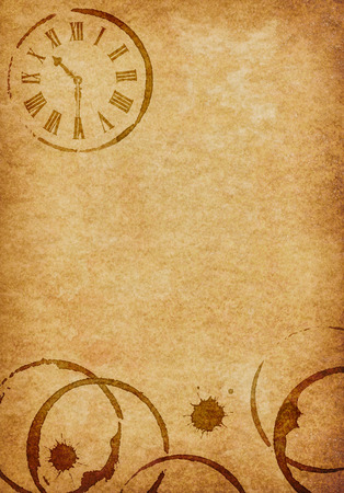 vellum: Coffee Stains   Clock Vellum Parchment Background Stock Photo