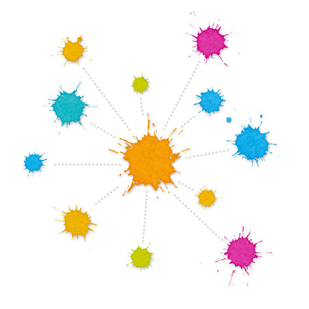 organisational: Infographic Interconnected Network of Paint Splashes