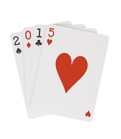 Year 2015 Playing Cards Heart on Top Clipping Path photo