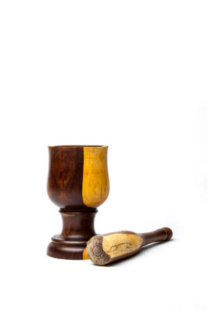 mortar and pestle: A colorful wood mortar  pestle