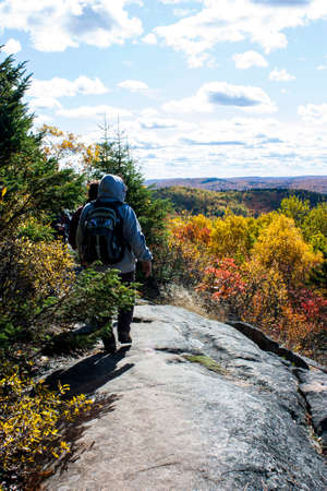back country: Hikers on a back country Ridge in autumn Stock Photo