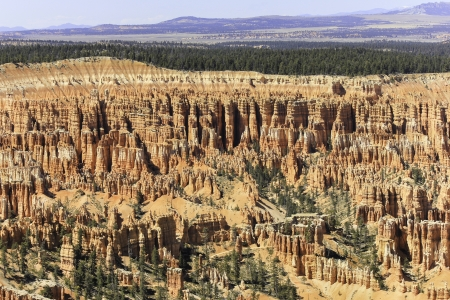 A stunning view down onto red, orange and white hoodoos in Bryce Canyon National Park
