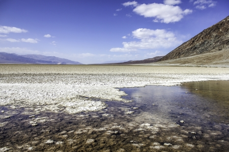 A pool of salty water in the salt flats at Badwater Basin in Death Valley