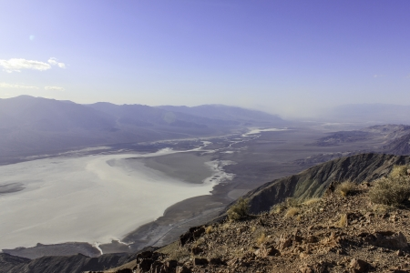 Death Valley Salt Lake viewed from high above and stretching far into the distance photo