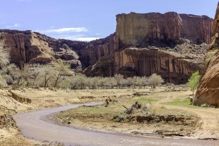 A view of a canyon river with a cowboy tending to his horses and steep red sandstone cliffs in the distance