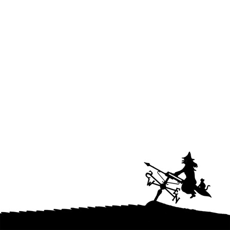flying hat: Silhouette of Halloween witch and cat on a broomstick against a white background Stock Photo