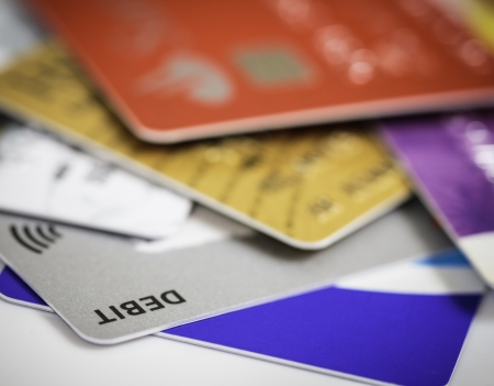 Pile of credit cards debt, loan or purchase concept photo