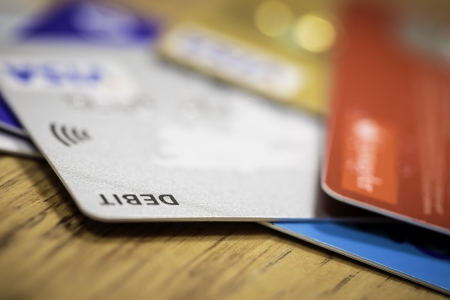 overdraft: Stack of credit cards debt, loan or purchase concept Stock Photo