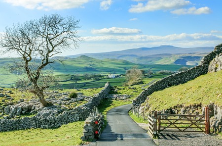 yorkshire dales: Beautiful yorkshire dales landscape stunning scenery england tourism uk green rolling hills road