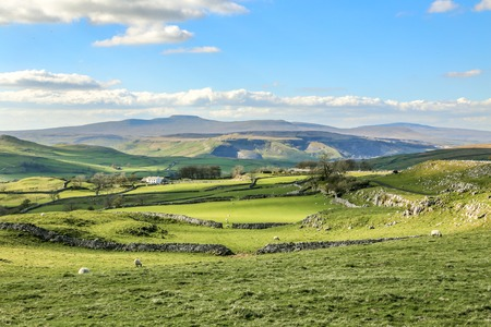 Yorkshire Dales: Beautiful yorkshire dales landscape stunning scenery england tourism uk green rolling hills Stock Photo