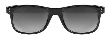 Sunglasses black frame and grey color lens isolated against a clean white background nobody