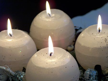 Four advent candles Stock Photo