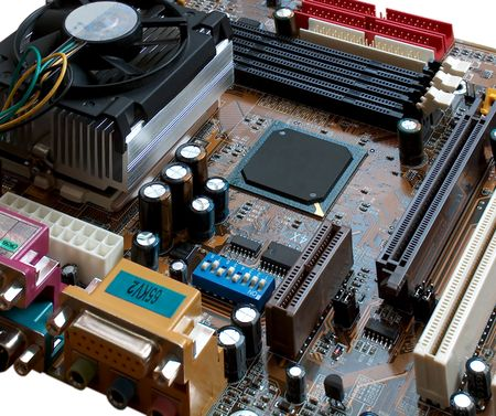 Processor board of a computer Stock Photo