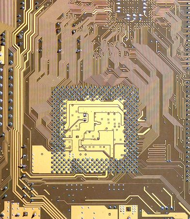 Printed circuit of a computer Stock Photo