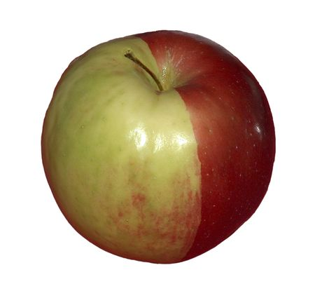 Half red - half green apple