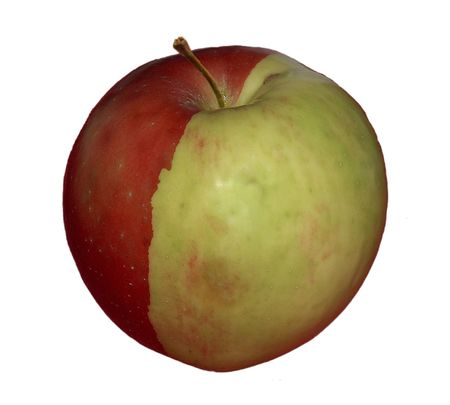 Half red - half green apple