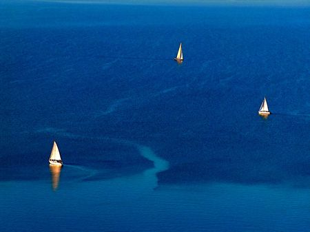Three sailboats on the Balaton