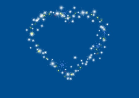 Beautiful heart template on blue background Stock Photo