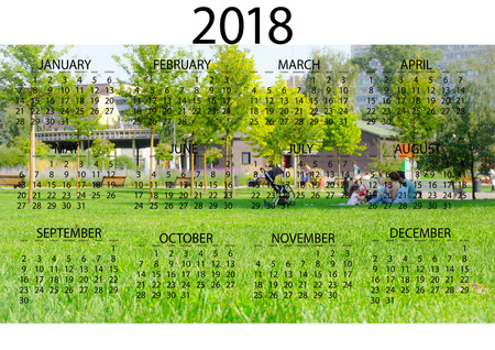 2018 Calendar of the year
