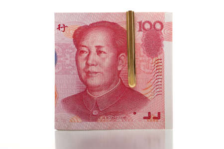 a stack of  yuan notes photo